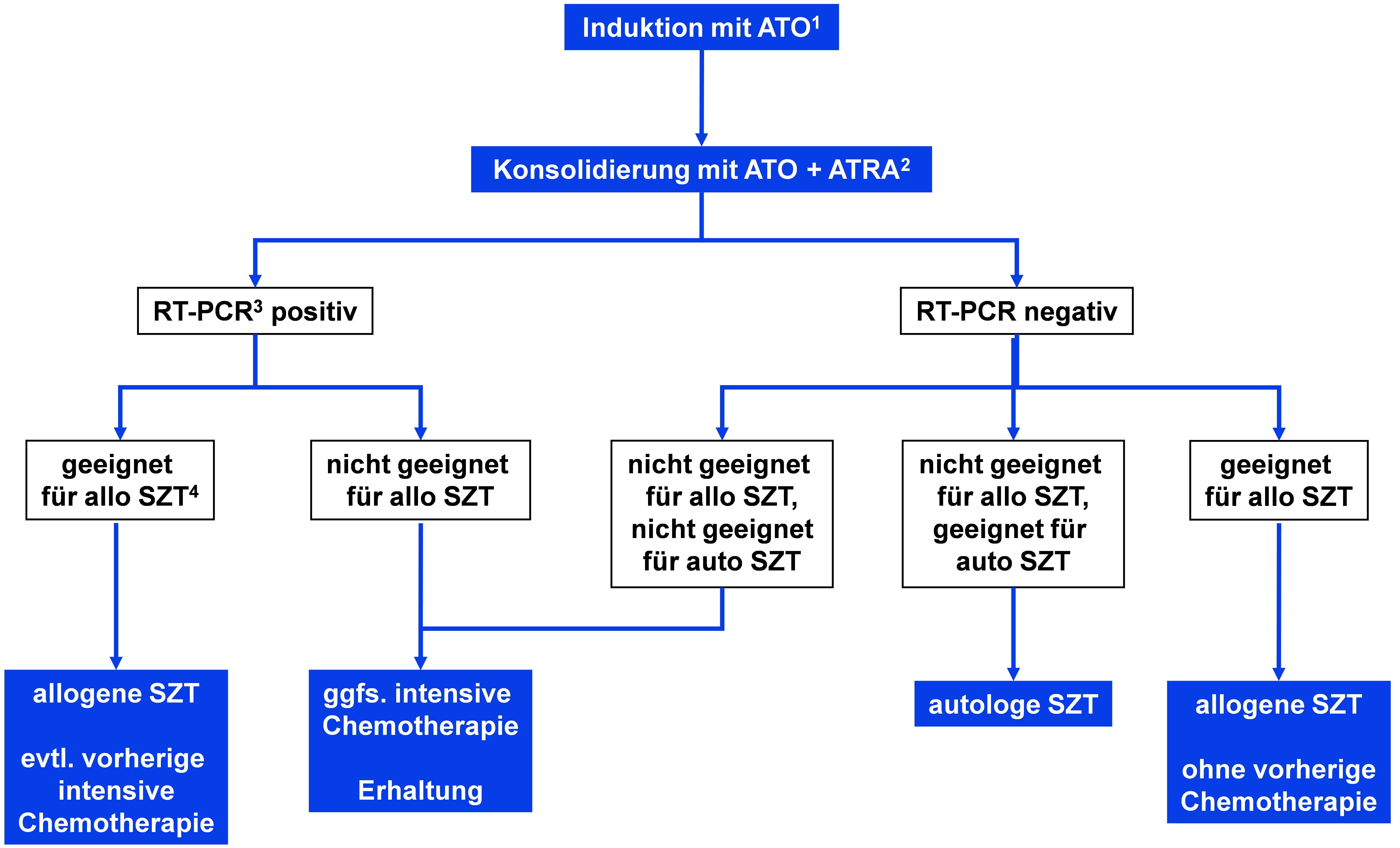 Algorithmus für die Zweitlinientherapie bei Akuter Promyelozytenleukämie nach vorhergehender Therapie mit ATRA und Chemotherapie