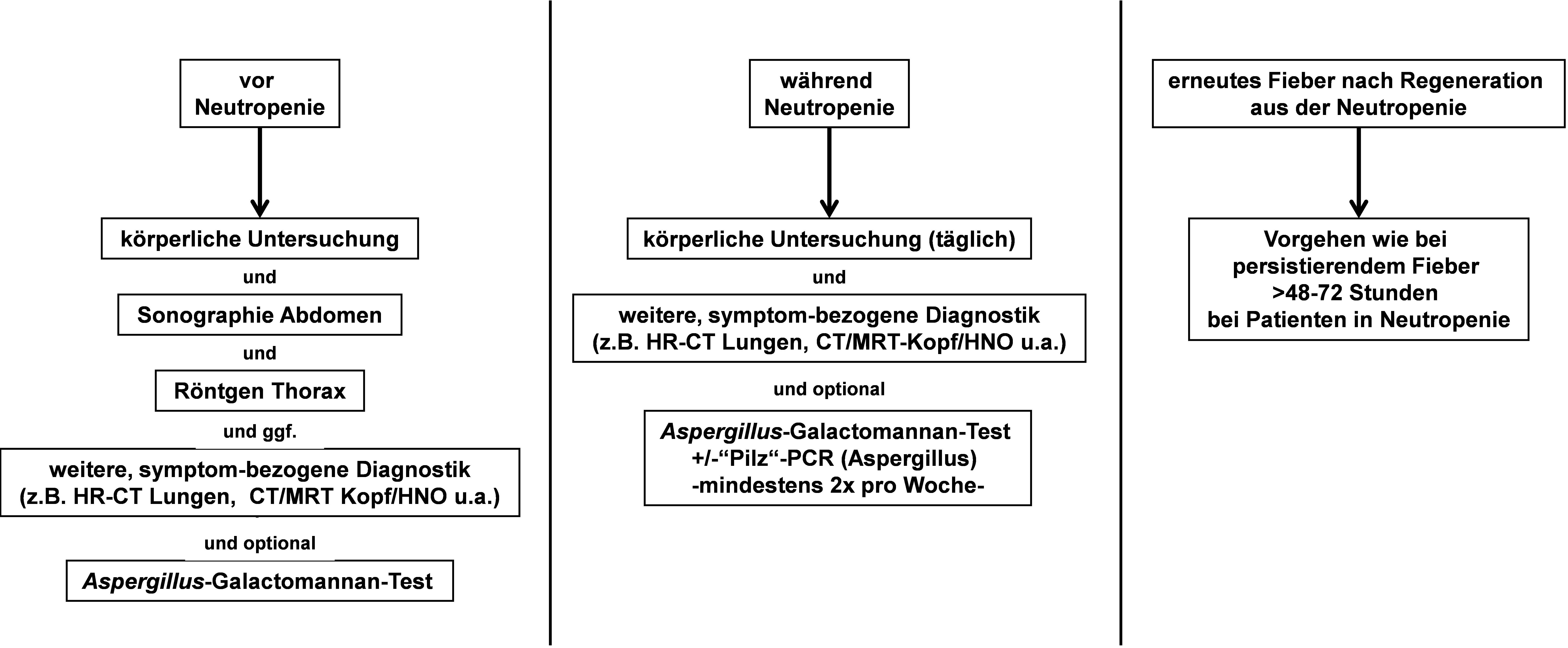 Diagnostisches Vorgehen bei Patienten mit hohem Infektionsrisiko, mit oder ohne Fieber