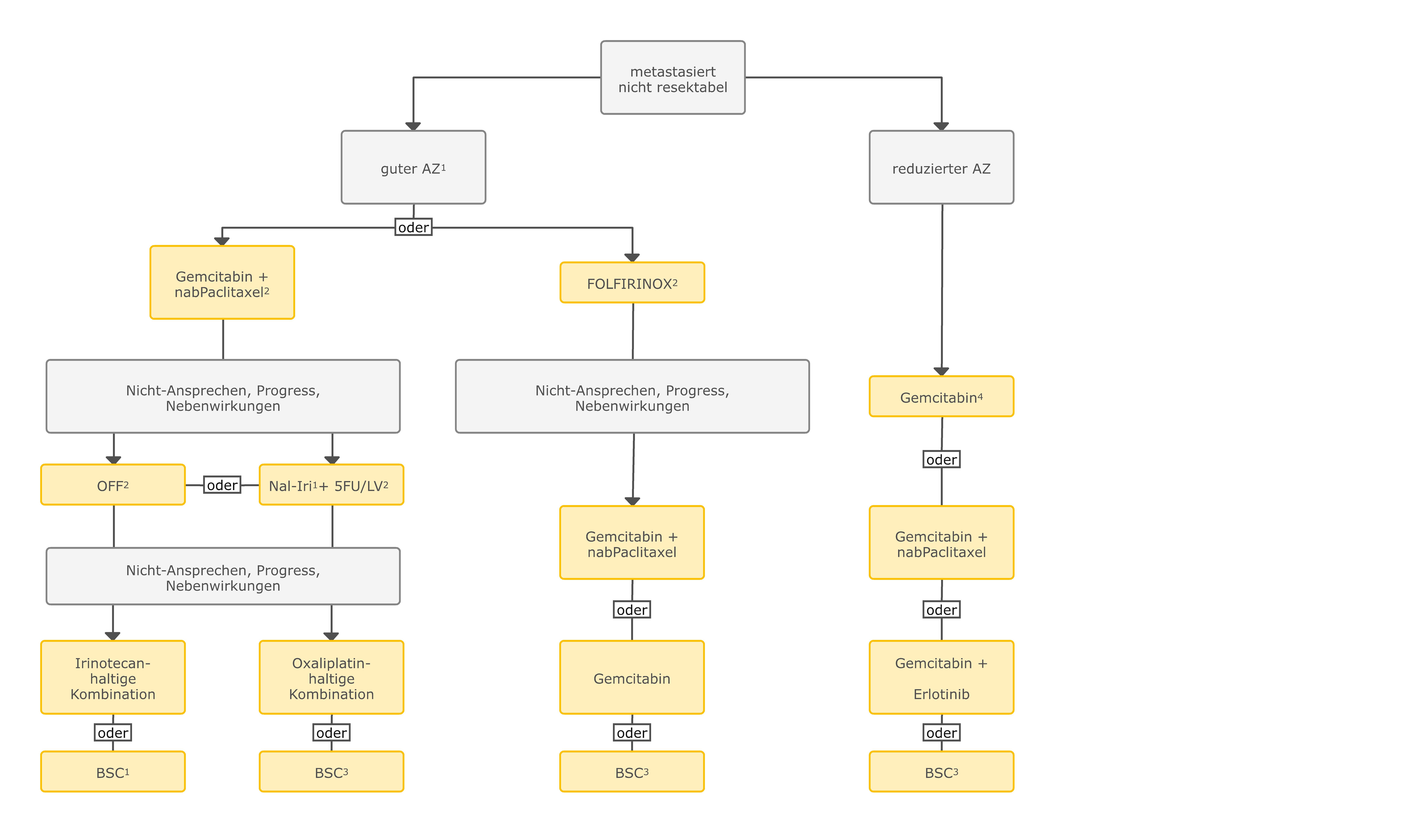 Algorithmus für die palliative medikamentöse Tumortherapie